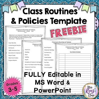 Classroom Policies and Routines Expectations Template –