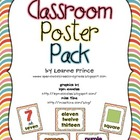 Classroom Poster Pack! Color words, Number words, & Shape words!
