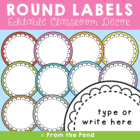 Classroom Round Labels - Pond Kids Theme