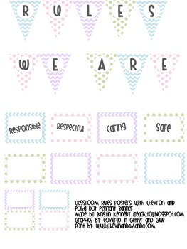 Classroom Rules Posters with Chevron and Polka Dot Pennant Banner