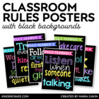 Classroom Rules Subway Art Poster Set {Black Series}