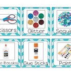 Classroom Supply Labels- Teal Chevron