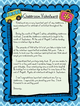 Classroom Volunteer Packet