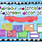 Classroom decoration set - Rainbow watercolor
