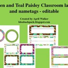 Classroom labels - Paisley themed - Editable