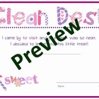 Clean Desk Award Certificates with frog or fairy theme