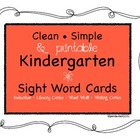 Clean-Simple & Printable Kindergarten Literacy Sight Words
