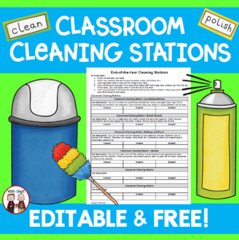 FREE Cleaning the Classroom Stations for Students Beginnin