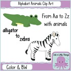 Clip Art Alphabet Animals A-Z in Color and B&amp;W