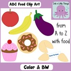Clip Art Alphabet Food A-Z in Color and B&amp;W