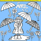 Clip Art April in black and white