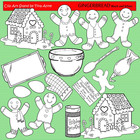 Clip Art Gingerbread Black &amp; White