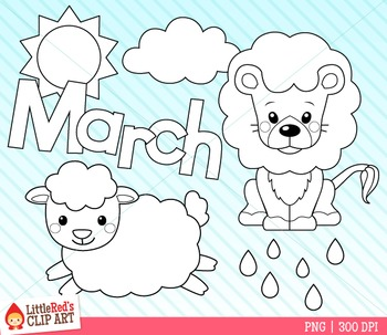 Clip Art - Lion and Lamb- Seasonal Clipart