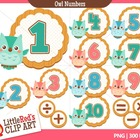 Clip Art: Owl Numbers - Animal theme clipart