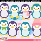 Clip Art: Playful Penguins - Winter theme clipart