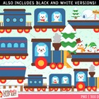 Clip Art - Polar Bear Express - holiday-themed clipart