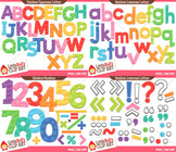 Rainbow Letters and Numbers Clip Art Bundle  { Color and B