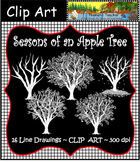 Clip Art  Seasons of an Apple Tree Line Drawings