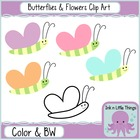 Clip Art Spring Butterflies and Flowers