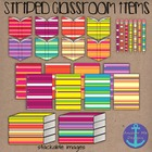 Clip Art: Striped Classroom Items- open and closed books,