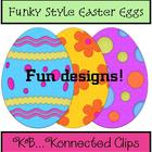 Clip art: 24 Funky Style Easter Eggs - Commercial Use Welcome