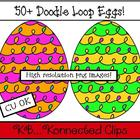 Clip art - 50+ Doodle Loop Eggs (commercial use)