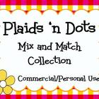 Clip art! Plaids &#039;n Dots Collection 1 - Papers, Frames, an