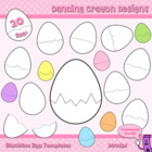 Clipart: Cracked Eggs Blackline Templates Clip Art Set (Ea