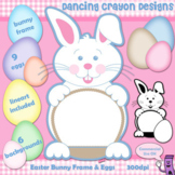 Clipart: Easter Bunny Frame, Eggs, and Background Clip Art Set