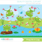 Clipart - Frog on a log