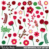 Clipart - Ruby Red Flowers