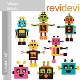 Clipart Vibrant Robots E025 (clip art for teachers)