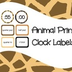 Clock Labels Animal Print