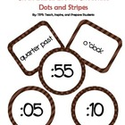 Clock Labels Brown Dots and Stripes