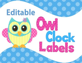 Clock Labels Pastel Owl