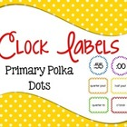 Clock Labels Primary Polka Dots