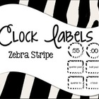 Clock Labels Zebra Stripes