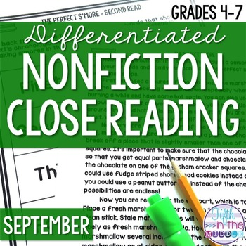 Close Reading Nonfiction Texts for Upper Elementary - September