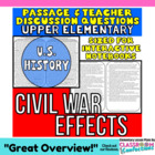 Close Reading Passage {Civil War- Effects on North and Sou