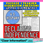 Close Reading Passage {Declaration of Independence 4th Grade}