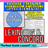 Close Reading Passage {Lexington and Concord for UPPER ELE