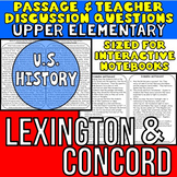 Lexington and Concord {Close Reading Passage for UPPER ELE