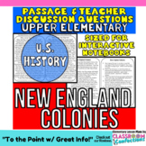 New England Colonies {Close Reading Passage for UPPER ELEMENTARY}