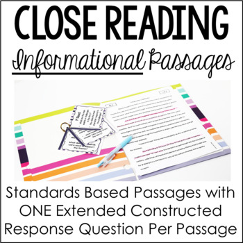Close Reading Passages with Higher Order Thinking {Common Core: Informational}