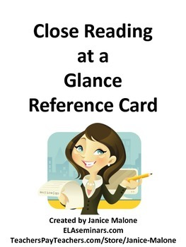 Close Reading at a Glance Reference Card