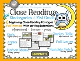 Close Reading for Kindergarten & First Grade: Quarter 2 Fa