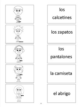 Clothes in Spanish - vocab. sheets, worksheets, matching &