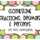 Clothesline Fractions, Decimals and Percents