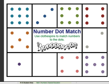 Clothespin Match - Dots to Numbers