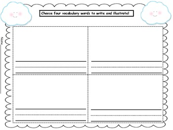 Cloudette Literacy Packet Centers Comprehension Strategies